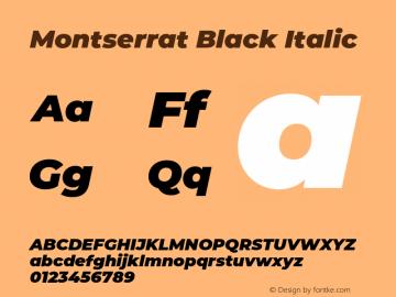 Montserrat Black Italic Version 7.200;PS 007.200;hotconv 1.0.88;makeotf.lib2.5.64775 Font Sample