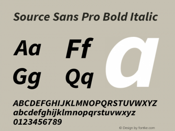 Source Sans Pro Bold Italic Version 1.075;PS 2.0;hotconv 1.0.86;makeotf.lib2.5.63406图片样张