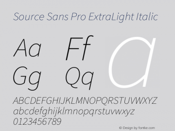 Source Sans Pro ExtraLight Italic Version 1.075;PS 2.0;hotconv 1.0.86;makeotf.lib2.5.63406图片样张