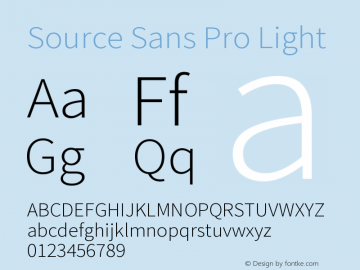 Source Sans Pro Light Version 2.020;PS 2.0;hotconv 1.0.86;makeotf.lib2.5.63406图片样张