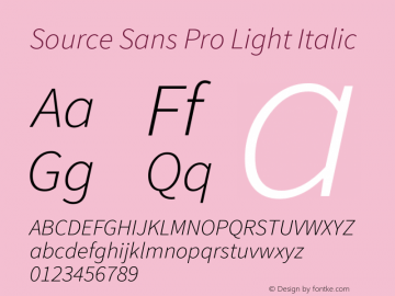 Source Sans Pro Light Italic Version 1.075;PS 2.0;hotconv 1.0.86;makeotf.lib2.5.63406图片样张