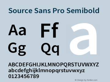 Source Sans Pro Semibold Version 2.020;PS 2.0;hotconv 1.0.86;makeotf.lib2.5.63406图片样张