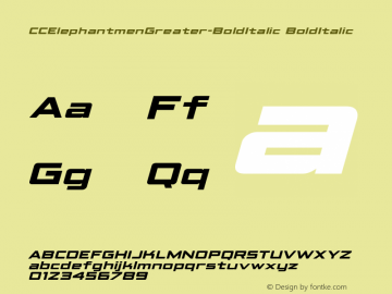 CCElephantmenGreater Bold Italic Version 1.001 2010;com.myfonts.comicraft.elephantmen-greater-and-taller.greater-bold-italic.wfkit2.3wfN Font Sample
