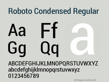Roboto Condensed Regular Version 1.100004; 2012 Font Sample