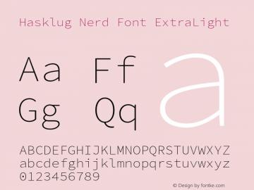 Hasklug ExtraLight Nerd Font Complete Version 2.030;PS 1.0;hotconv 16.6.51;makeotf.lib2.5.65220 Font Sample