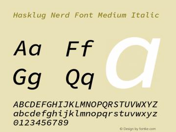 Hasklug Medium Italic Nerd Font Complete Version 1.050;PS 1.0;hotconv 16.6.51;makeotf.lib2.5.65220 Font Sample