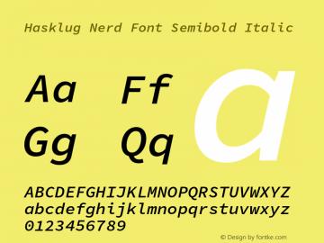 Hasklug Semibold Italic Nerd Font Complete Version 1.050;PS 1.0;hotconv 16.6.51;makeotf.lib2.5.65220 Font Sample