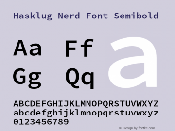Hasklug Semibold Nerd Font Complete Version 2.030;PS 1.0;hotconv 16.6.51;makeotf.lib2.5.65220 Font Sample