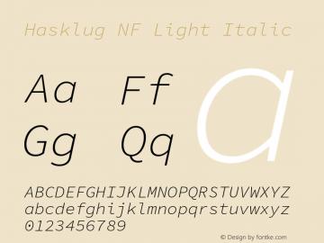 Hasklug Light Italic Nerd Font Complete Windows Compatible Version 1.050;PS 1.0;hotconv 16.6.51;makeotf.lib2.5.65220 Font Sample