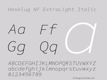 Hasklug ExtraLight Italic Nerd Font Complete Mono Windows Compatible Version 1.050;PS 1.0;hotconv 16.6.51;makeotf.lib2.5.65220 Font Sample