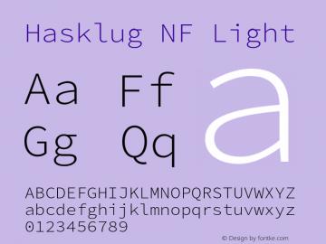 Hasklug Light Nerd Font Complete Mono Windows Compatible Version 2.030;PS 1.0;hotconv 16.6.51;makeotf.lib2.5.65220 Font Sample
