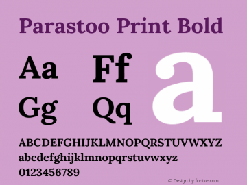 Parastoo Print Bold Version 1.0.0-alpha4 Font Sample