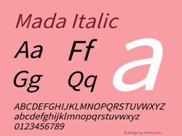 Mada Italic Version 1.004图片样张