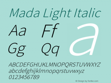 Mada Light Italic Version 1.004图片样张