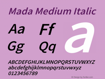 Mada Medium Italic Version 1.004图片样张