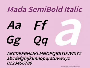 Mada SemiBold Italic Version 1.004图片样张