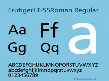 Frutiger LT 55 Roman Version 4.00图片样张