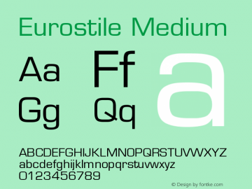 Eurostile Medium Version 001.001 Font Sample