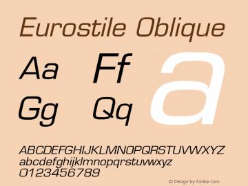 Eurostile Oblique Version 001.001 Font Sample