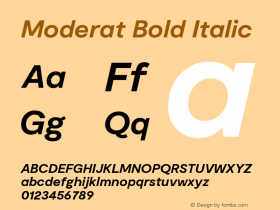Moderat Bold Italic Version 2.000;PS 002.000;hotconv 1.0.88;makeotf.lib2.5.64775图片样张