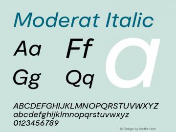 Moderat Regular Italic Version 2.000;PS 002.000;hotconv 1.0.88;makeotf.lib2.5.64775图片样张