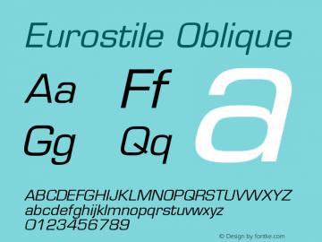 Eurostile Oblique Version 001.002 Font Sample