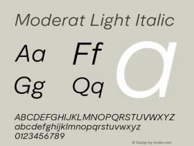 Moderat Light Italic Version 2.000;PS 002.000;hotconv 1.0.88;makeotf.lib2.5.64775图片样张