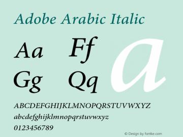 Adobe Arabic Font,AdobeArabic-Italic Font,Adobe Arabic