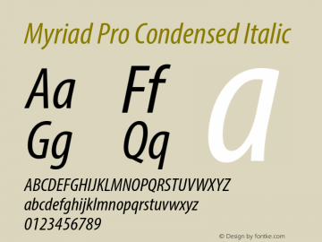 Myriad Pro Font,MyriadPro-CondIt Font,Myriad Pro Cond Font