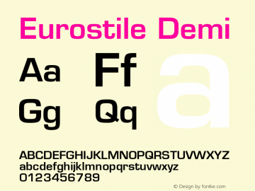 Eurostile Demi Version 001.002图片样张
