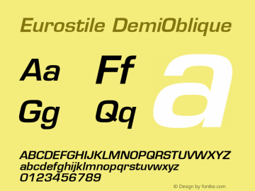 Eurostile DemiOblique Version 001.002图片样张