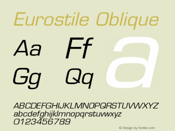 Eurostile Oblique Version 001.003图片样张