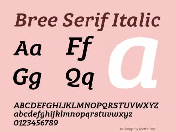 BreeSerif-Italic Version 1.001图片样张