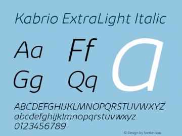 Kabrio-ExtraLightItalic Version 1.000图片样张