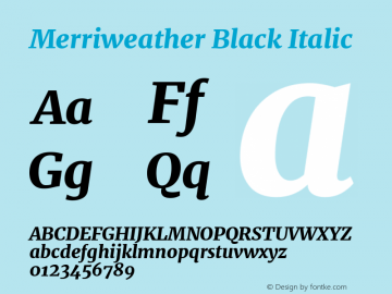 Merriweather Black Italic Version 2.002图片样张