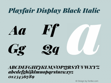 Playfair Display Black Italic Version 1.200; ttfautohint (v1.6)图片样张