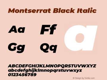 Montserrat Black Italic Version 7.200图片样张