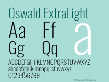 Oswald ExtraLight Version 4.100图片样张