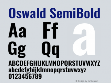 Oswald SemiBold Version 4.100图片样张