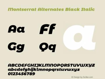Montserrat Alternates Black Italic Version 7.200 Font Sample