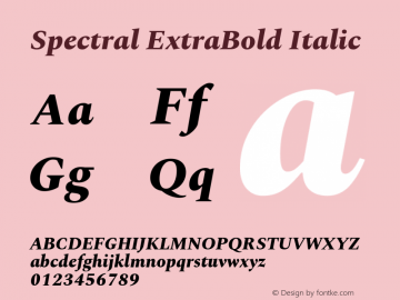Spectral ExtraBold Italic Version 2.001图片样张