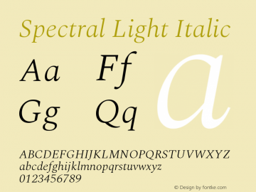 Spectral Light Italic Version 2.001图片样张
