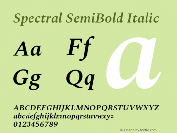 Spectral SemiBold Italic Version 2.001图片样张