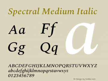 Spectral Medium Italic Version 2.001图片样张