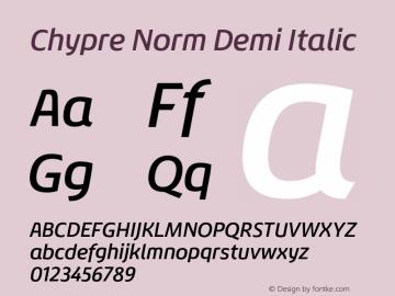 Chypre Norm Demi Italic Version 1.0图片样张