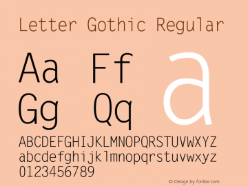 Letter Gothic Version 1.3 (Hewlett-Packard)图片样张