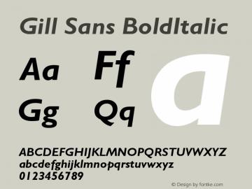 Gill Sans Bold Italic Version 001.000图片样张