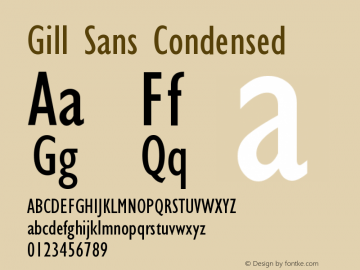 Gill Sans Condensed Version 001.000图片样张