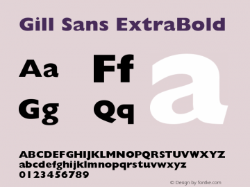 Gill Sans Extra Bold Version 001.000图片样张
