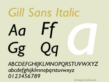 Gill Sans Italic Version 001.000图片样张